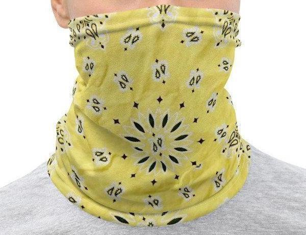Face Covering-Yellow Faux Vintage Bandana Illusion Print Neck Gaiter-Midnight Sheetcake