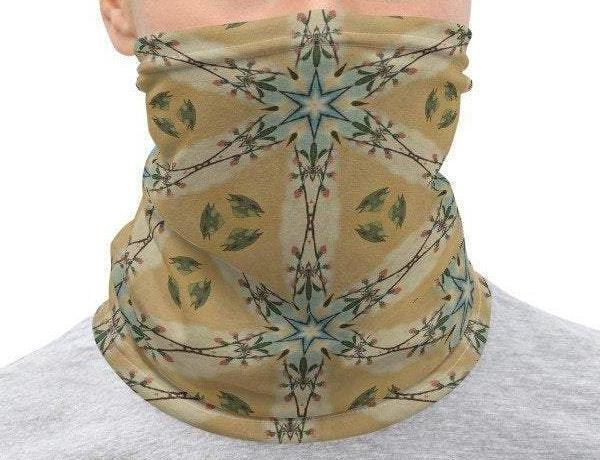 Face Covering-Yellow Geometric Illusion Print Neck Gaiter-Midnight Sheetcake