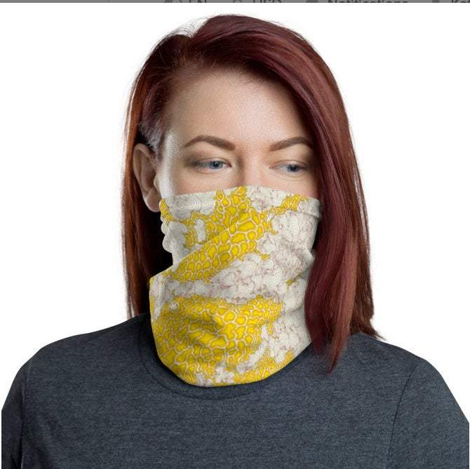 Face Covering-Yellow Planetary Print Neck Gaiter, NASA photo-Midnight Sheetcake