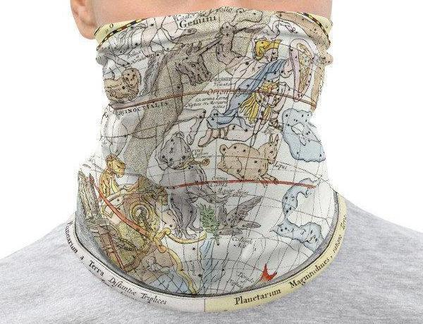 Face Covering-Zodiac Map Illustration Neck Gaiter-Midnight Sheetcake