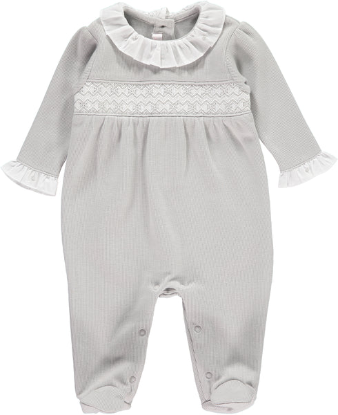 Grey Knitted Pima Cotton Babygrow With Smocked Chest Detail - Bebe Bombom