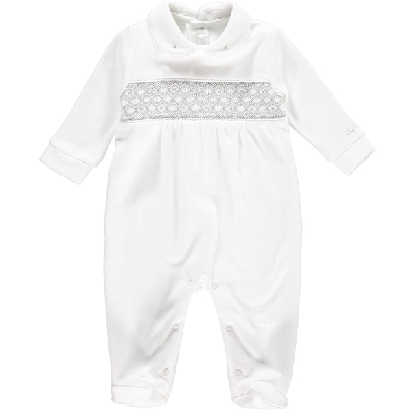 Coming Back Soon! White Babygrow with Grey Handsmocked Details - Bebe Bombom