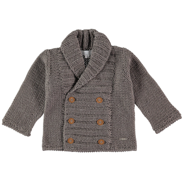 Grey Alpaca Mix Cardigan - Bebe Bombom