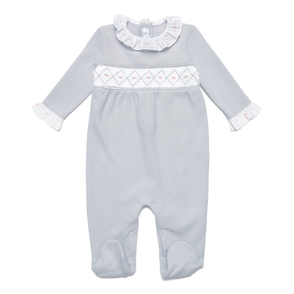 Grey Pima Cotton Babygrow with Handsmocked Detail - Bebe Bombom