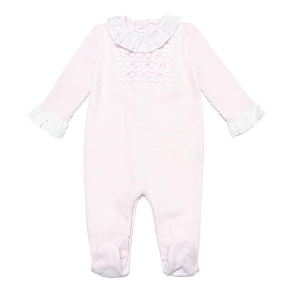 Pink Babygrow with Handsmocked Details - Bebe Bombom