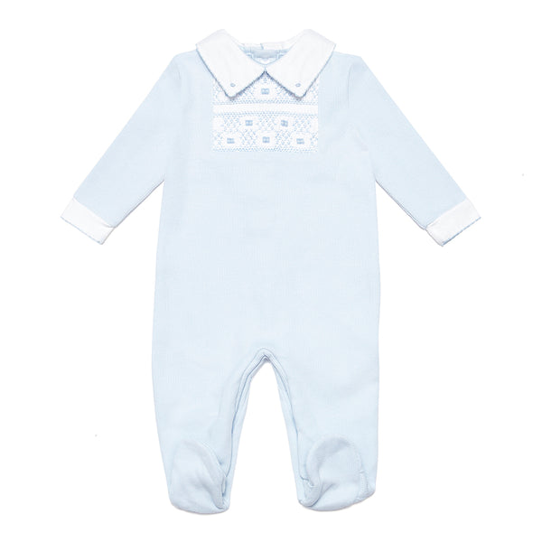 Blue Babygrow with Handsmocked Detail & Contrast Collar - Bebe Bombom