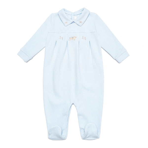 Hand-Embroidered Babygrow with Polo Motif - Bebe Bombom