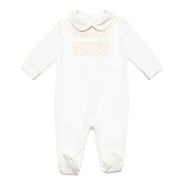 Handsmocked Babygrow in Neutral Colours - Bebe Bombom