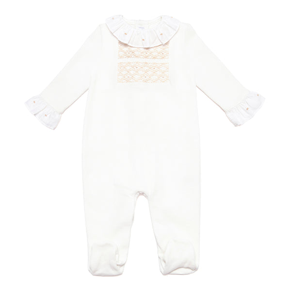 Neutral Pima Cotton Babygrow with Handsmocked Detail - Bebe Bombom