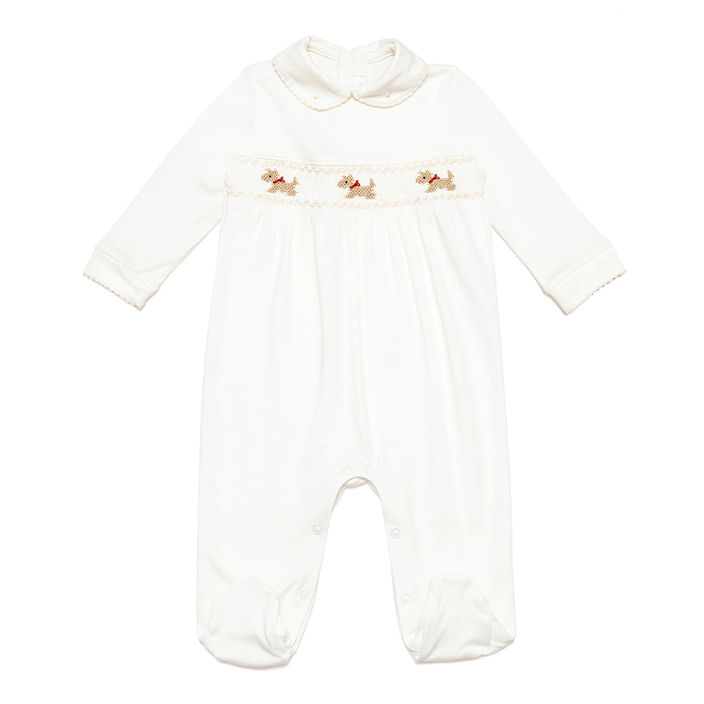 Organic Pima Cotton Babygrow with Handsmocked Detail - Bebe Bombom