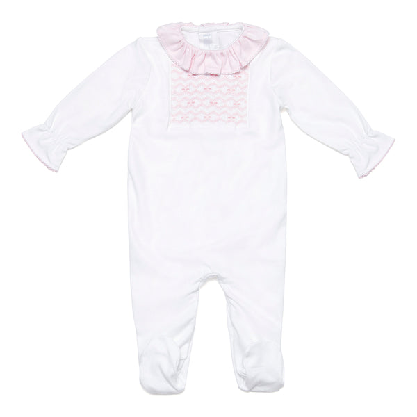 Pima Cotton Babygrow with Pink Handsmocked Details - Bebe Bombom