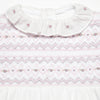 Pima Cotton Babygrow with Pink & Grey Handsmocked Detail - Bebe Bombom