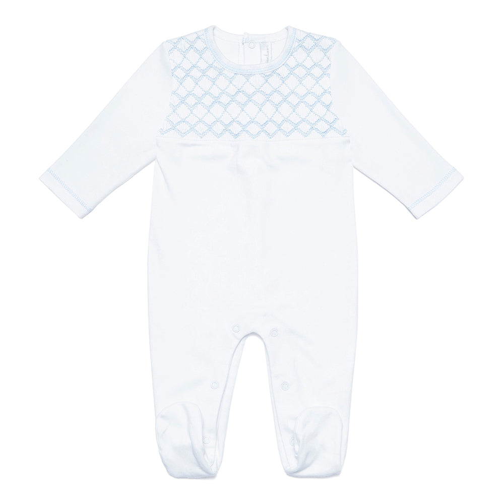 Coming back soon! Pima Cotton Babygrow with blue handsmocked detail - Bebe Bombom