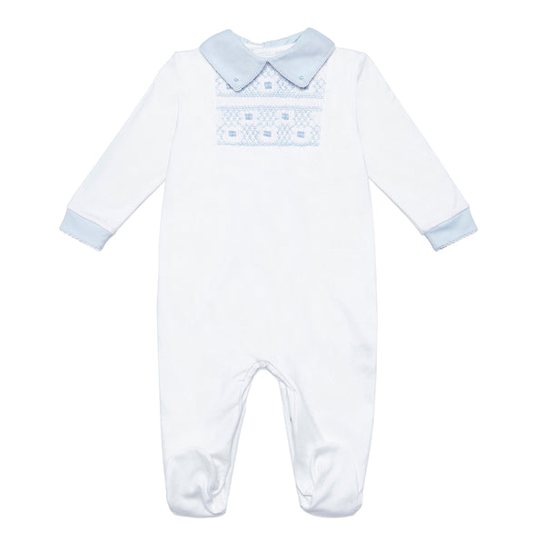 White Pima Cotton Babygrow with Handsmocked Detail - Bebe Bombom