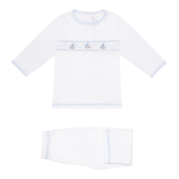 Soft Pima Cotton Handsmocked  Boats Pyjamas - Bebe Bombom