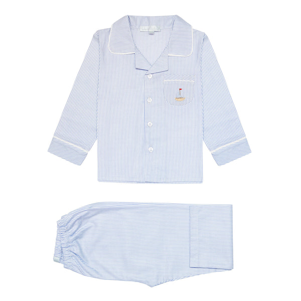 Blue Pima Cotton Pyjamas - Bebe Bombom