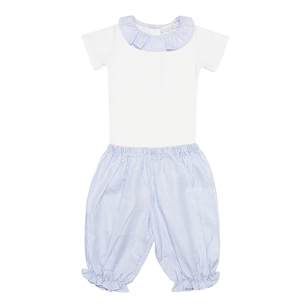 Pima Cotton Stripy Shorts Set - Blue - Bebe Bombom