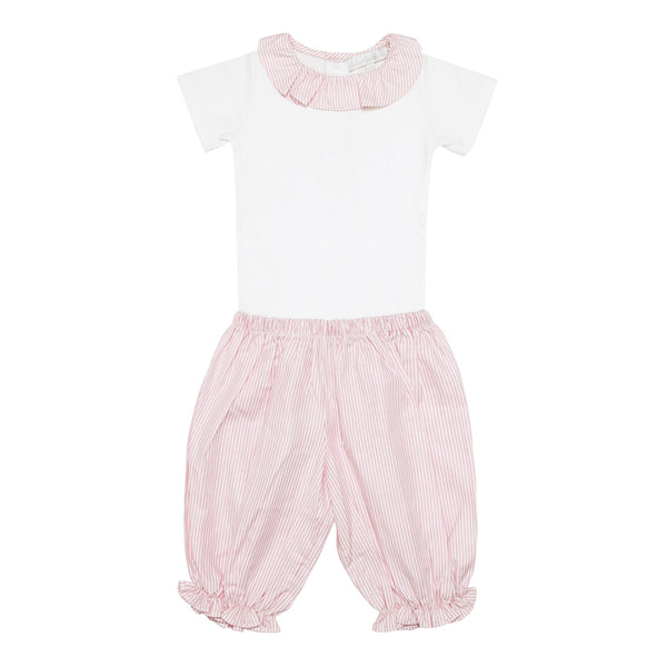 Pima Cotton Stripy Shorts Set - Red - Bebe Bombom