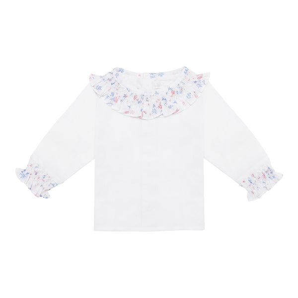 Handsmocked Blouse with Flamingo Ruffle Details - Bebe Bombom