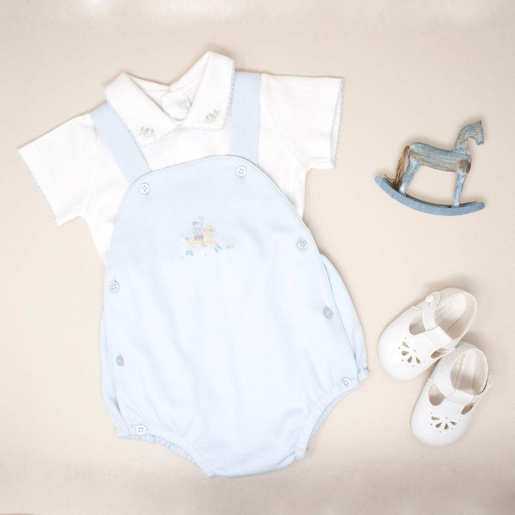 2 Piece Dungaree Set with Polo Embroidery - Bebe Bombom