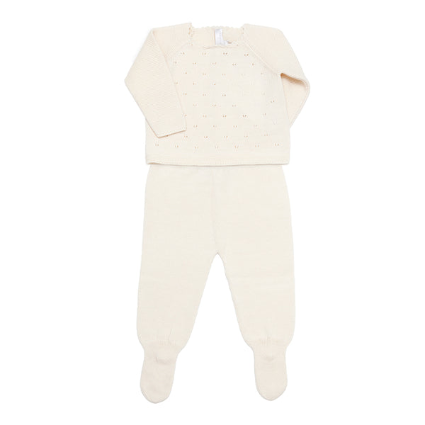 Cream Pima Cotton Set - Bebe Bombom