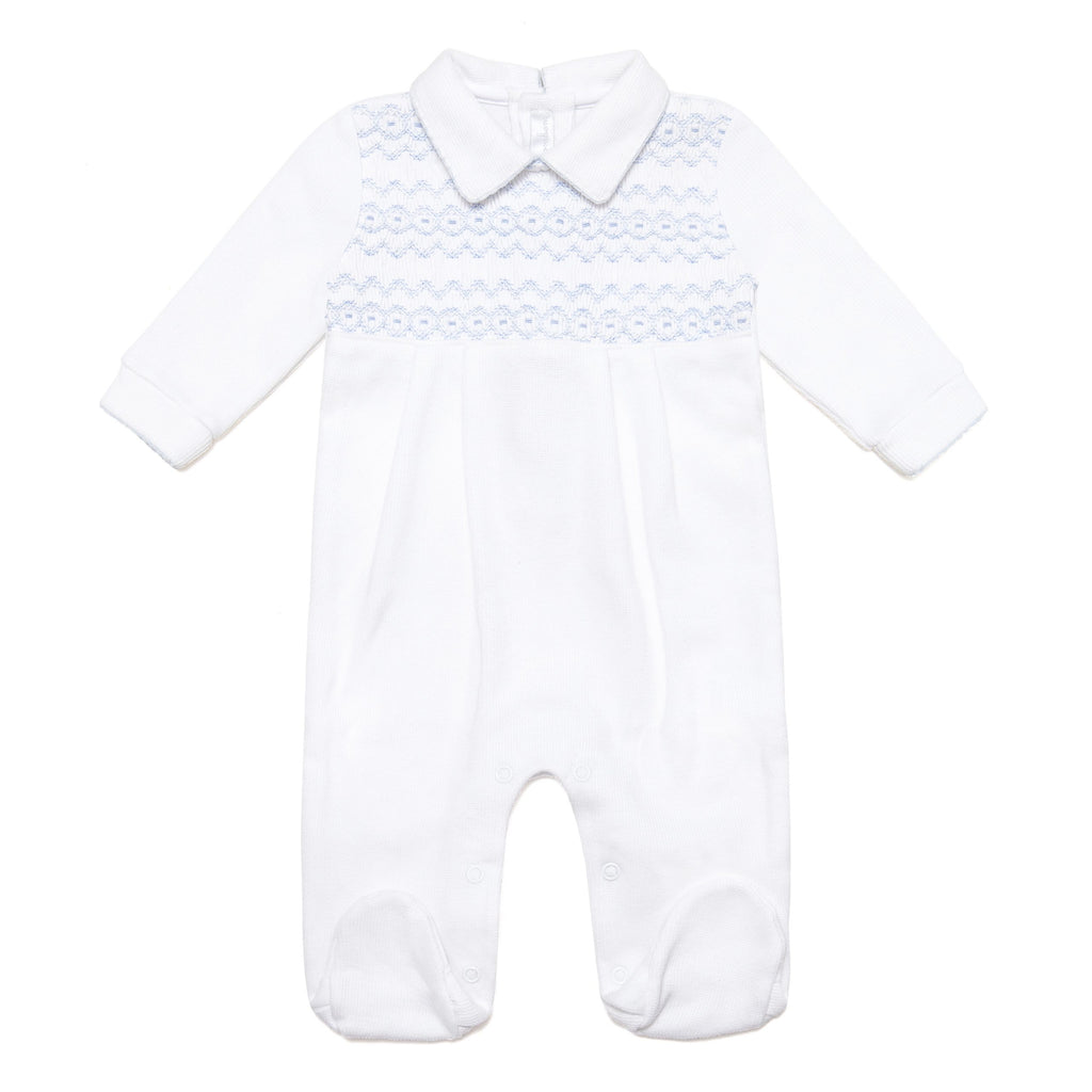 New! White & Blue Smocked Pima Cotton Babygrow - Bebe Bombom