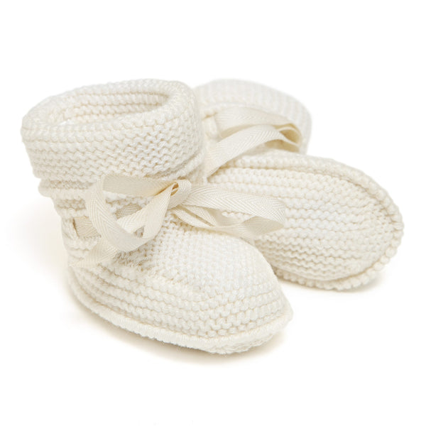 Back in stock! Cream Pima Cotton Baby Booties - Bebe Bombom