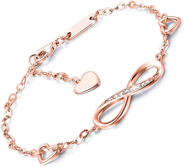 White Swarovski Elements Infinite Pendant Chain Bracelet in 14K Rose Gold Plating