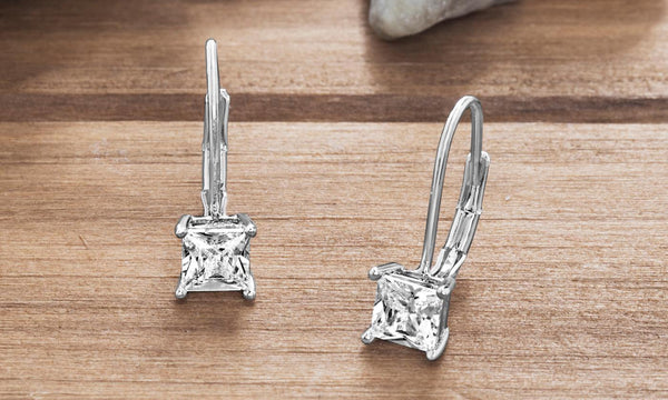 Princess Cut Swarovski Elements Simple Leverback Earrings in 14K White Gold