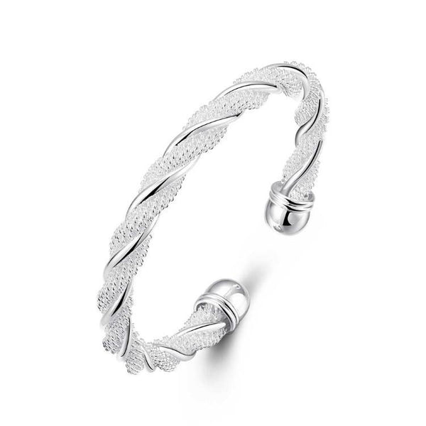 Twisted Mesh Silver Cuff Adjustable Bracelet