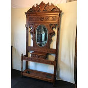 Antique Boronial Oak Hall Stand