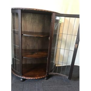 Tasmanian Oak Leadlight Crystal Cabinet