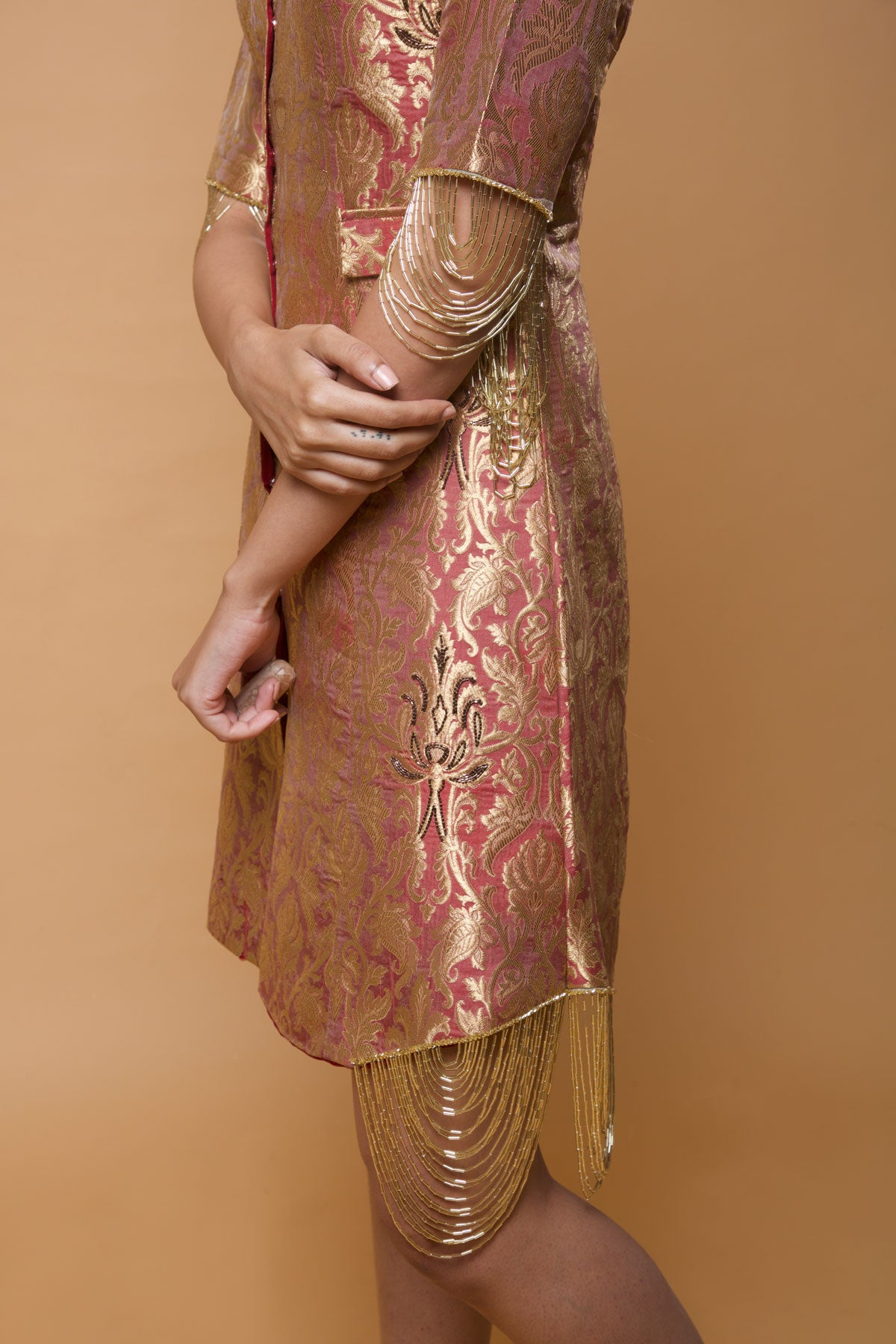Image result for brown brocade paisley gown
