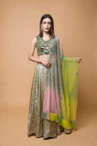 Floral Green Banarasi Embroidered Choli Lehenga Set