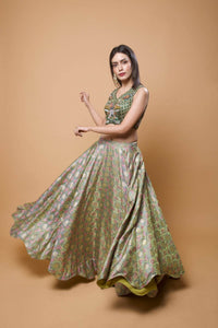 Floral Green Banarsi Embroidered Lehenga Set