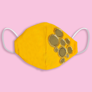 Yellow Mirror Embroidered Mask