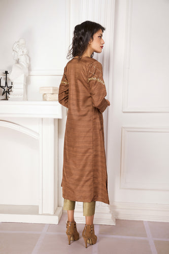 Party Wear Zardoshi Embroidered Brown Kalidaar Kurta