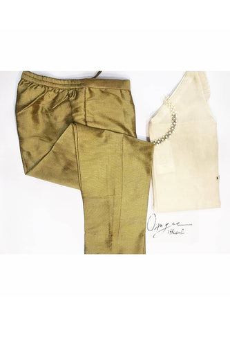 Bronze Colour Cotton Silk Cigarette Pant