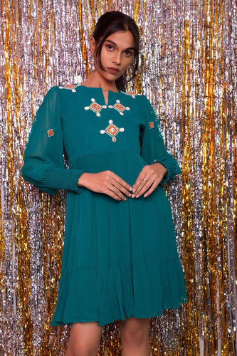 Hand Embroidered Viscose Georgette Ruffle Layered Dress