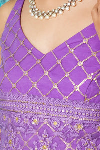 Lavender Chikankari Embroidered Blouse Top