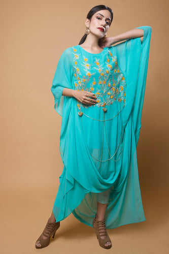 Mint Blue Embroidered Drape Tunic