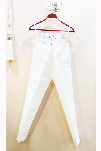 Offwhite Colour Cotton Silk Cigarette Pant