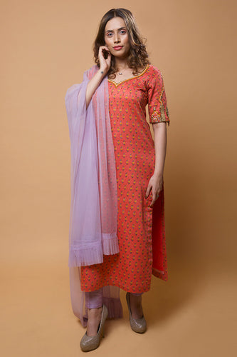 Peach Orange Embroidered Jaipuri Printed Kurta