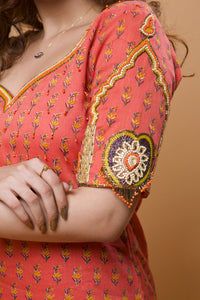 Peach Orange Embroidered Jaipuri Printed Designer Kurta