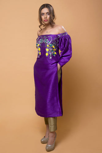 Purple Embroidered Bhagalpuri Silk Boutique Kurta