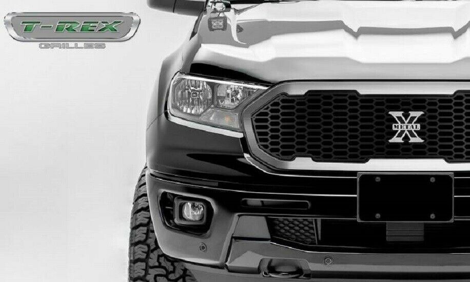 T-Rex 2019-2020 Ford Ranger Laser X Grille No Studs 1 PC Replacement With Stainless Steel Brushed Trim and X-Metal logo 6315824
