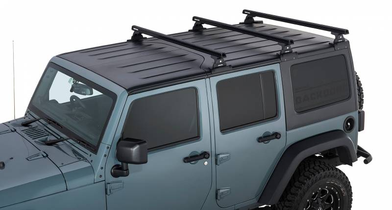 Rhino Rack 2007-2010 Jeep Wrangler 2011-2018 Wrangler JK 4dr SUV Hard Top Heavy Duty RLT600 Black 3 Bar Backbone Roof Rack JA6392