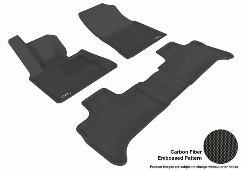 3D MAXpider 2000-2006 BMW X5 1st Row 2nd Row Kagu Carbon Fiber Embossed Pattern Black Floor Mat L1BM00501509