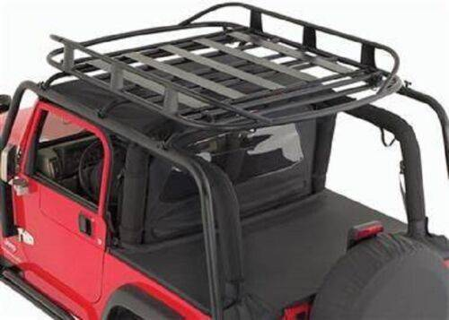 "Smittybilt 1997-2006 Jeep Wrangler TJ SRC Roof Rack Black Textured with Universal Rugged Rack Roof Basket 50"" X 70"" 250 Lb Rating Black 76713/17185"