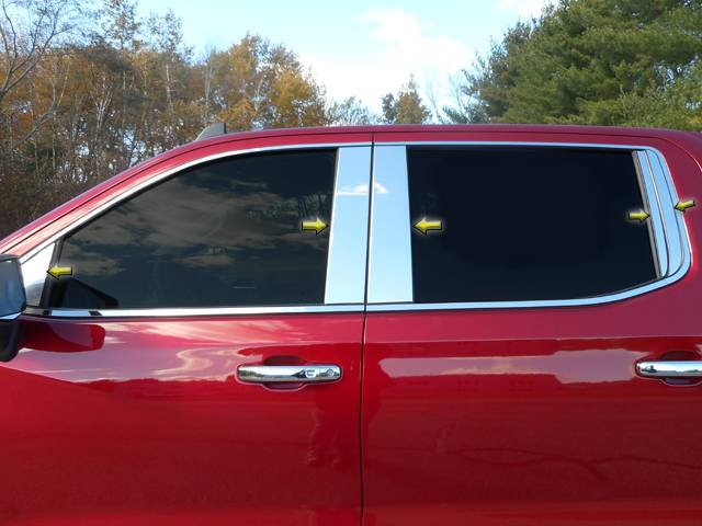 QAA 2019-2020 Chevrolet Silverado 10 piece Stainless Pillar Post Trim with Front Triangle piece PP59173